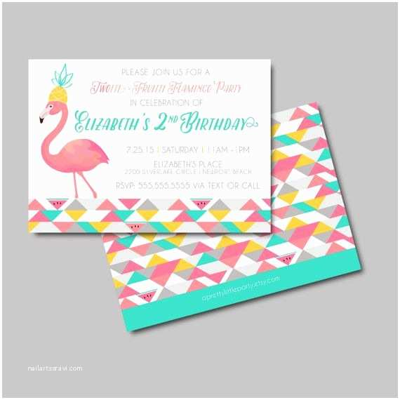 Pineapple Party Invitations Tutti Fruitti Flamingo Birthday Invite Flamingo Party