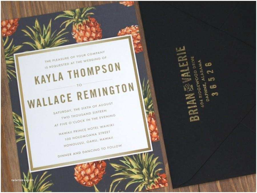 Pineapple Wedding Invitations Destination Wedding Invitation Black Yellow Pineapple