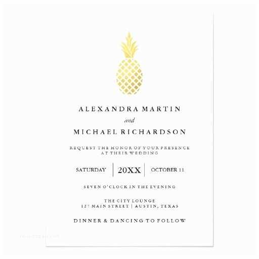 Pineapple Wedding Invitations Elegant Gold Pineapple Wedding Invitation