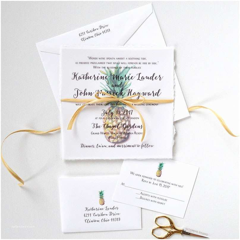 Pineapple Wedding Invitations Handmade Watercolor Pineapple Invitation Suite