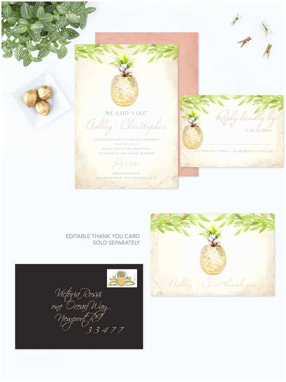 pineapple wedding invitation editable