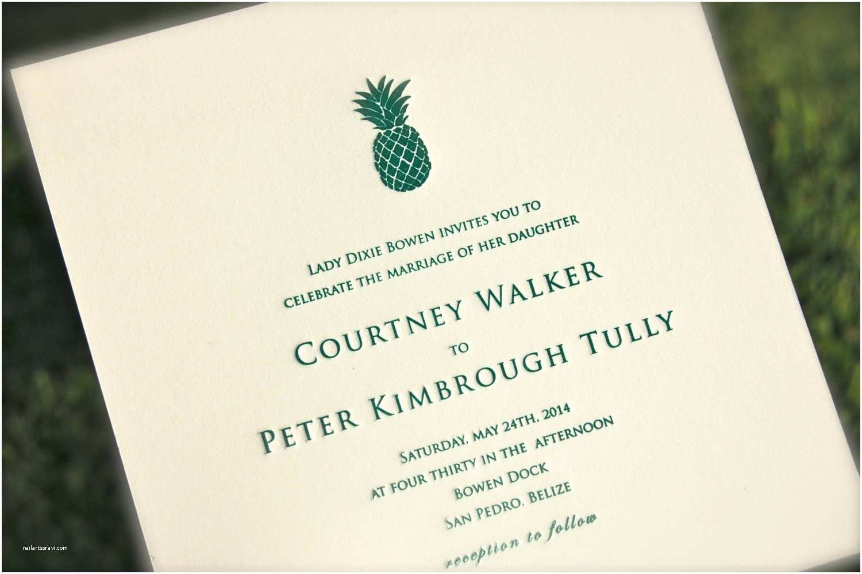 Pineapple Wedding Invitations Pineapple Wedding Invitation Green Letterpress Wedding