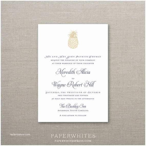 Pineapple Wedding Invitations southern Pineapple Wedding Invitation Deposit by
