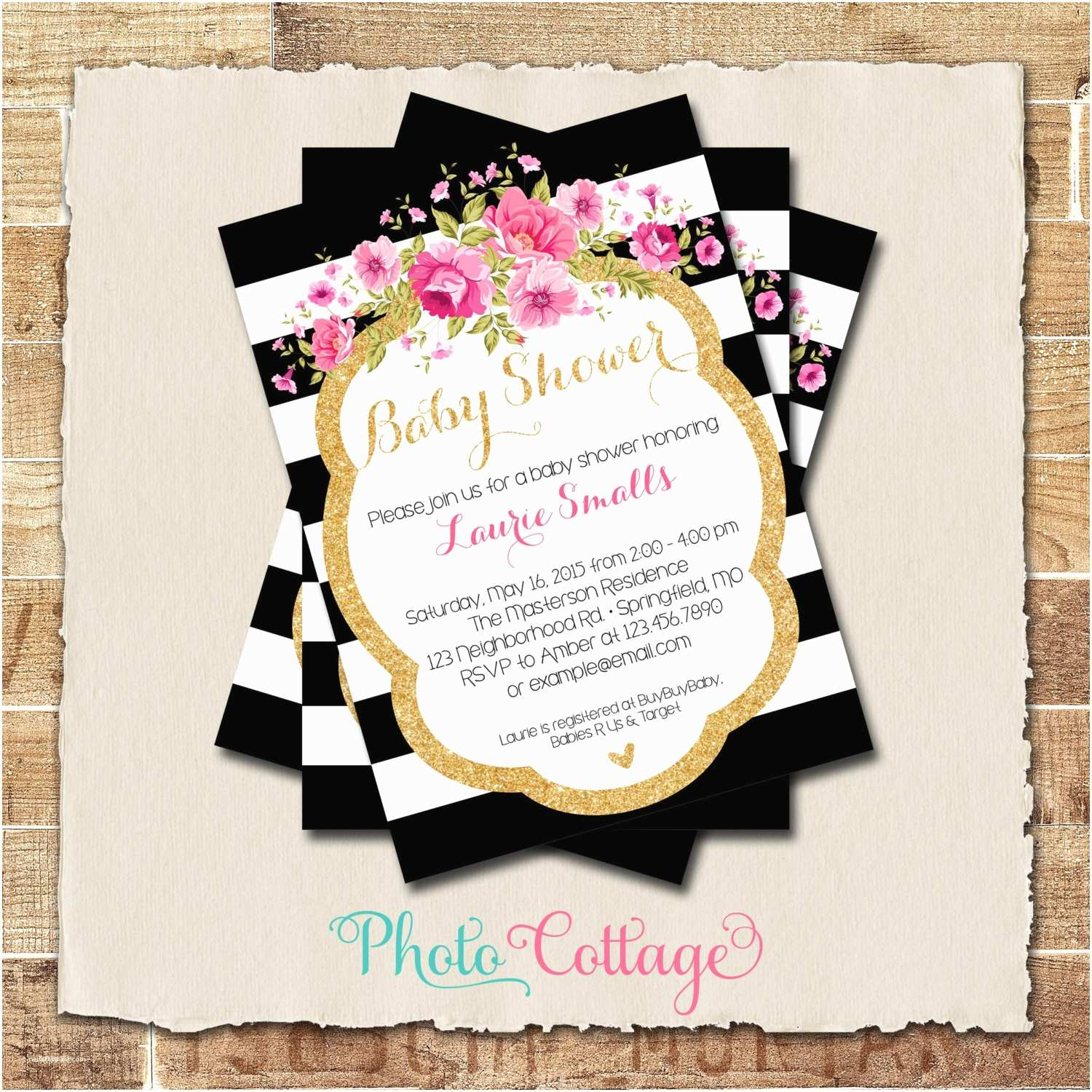 Pink and Gold Baby Shower Invitations Baby Shower Invitation Glitter Gold Pink Invitation Baby
