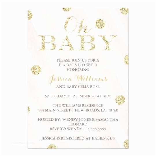 Pink and Gold Baby Shower Invitations Blush Pink and Gold Baby Shower Invitations