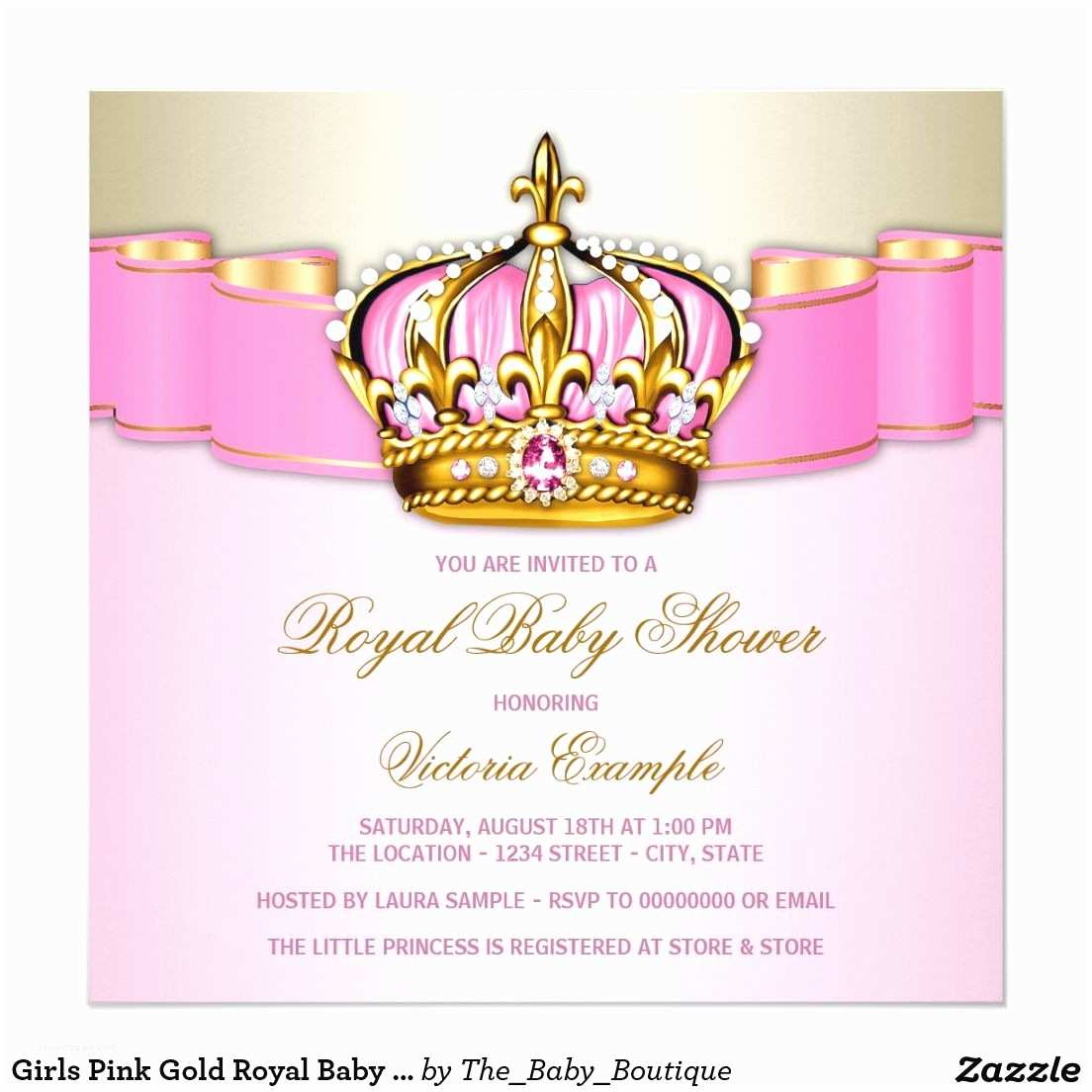 Pink and Gold Baby Shower Invitations Girls Pink Gold Royal Baby Shower Card