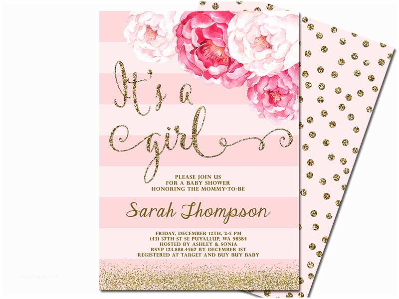 Pink and Gold Baby Shower Invitations It S A Girl Baby Shower Invitation Blush Pink & Gold