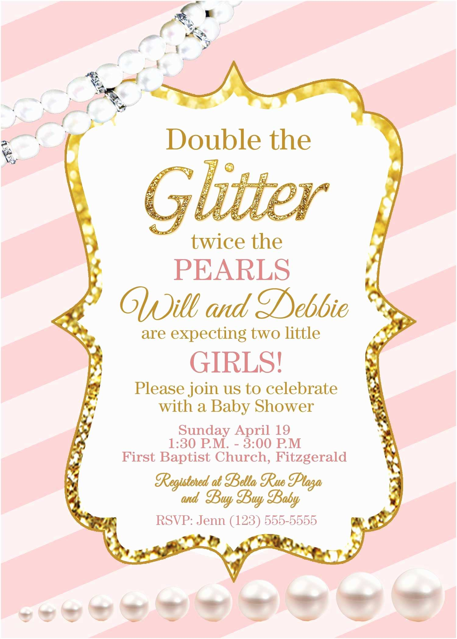 Pink and Gold Baby Shower Invitations Pink and Gold Baby Shower Invitations