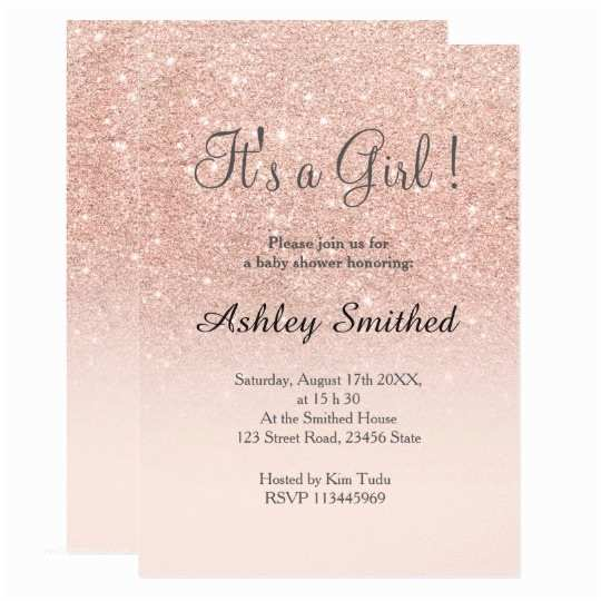 Pink and Gold Baby Shower Invitations Rose Gold Faux Glitter Pink Ombre Girl Baby Shower Card