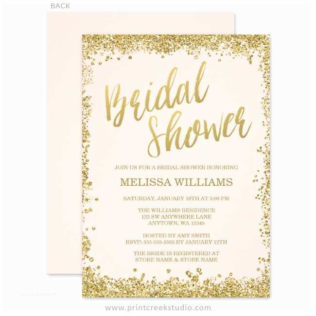 Pink and Gold Bridal Shower Invitations Blush Pink Gold Faux Glitter Bridal Shower Invitations