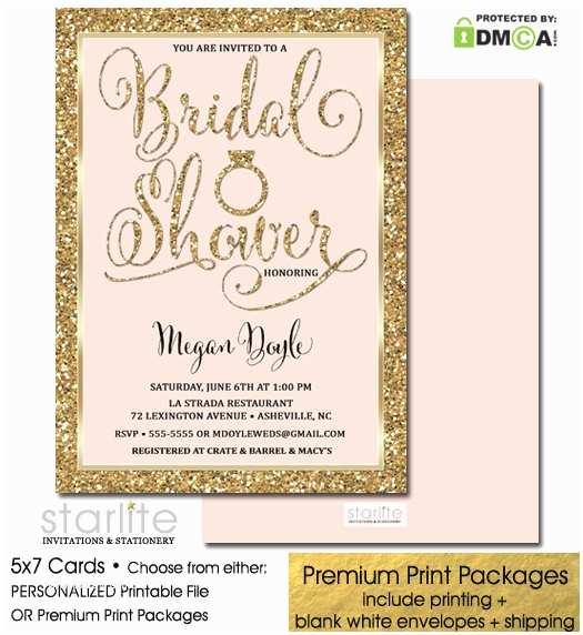 Pink and Gold Bridal Shower Invitations Bridal Shower Invitation Blush Pink Gold Glitter Printable