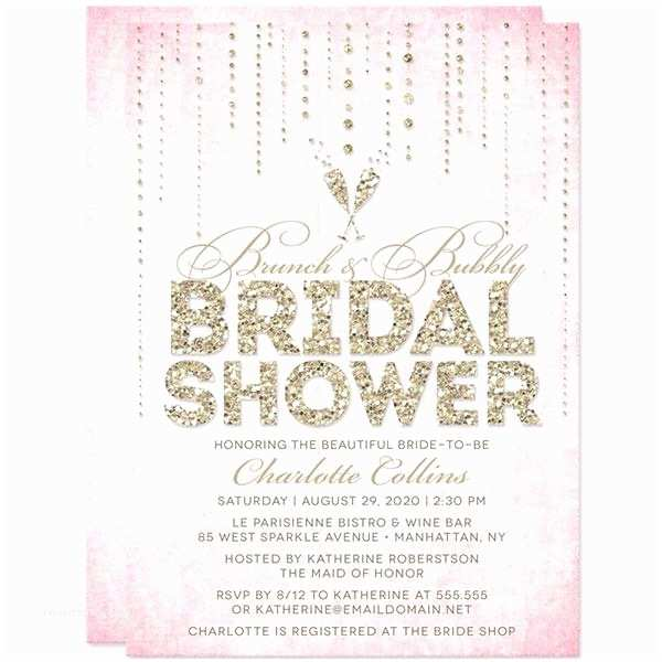 Pink and Gold Bridal Shower Invitations Bridal Shower Invitations by the Spotted Olive