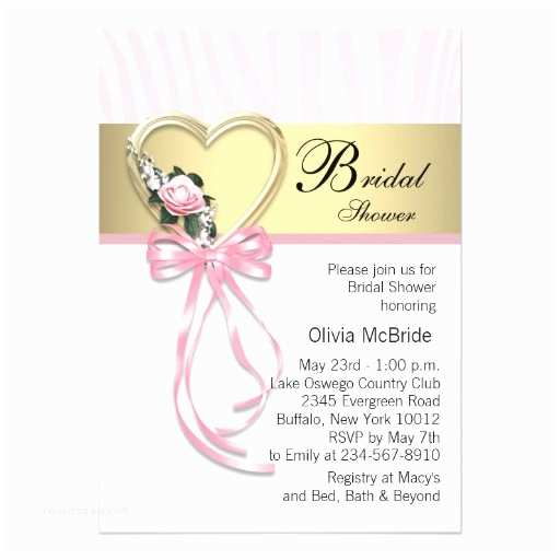 Pink and Gold Bridal Shower Invitations Bridal Shower Invitations Pink Zebra Bridal Shower