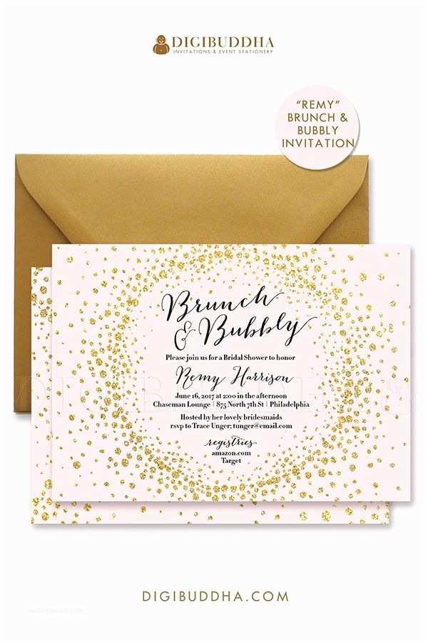 Pink and Gold Bridal Shower Invitations Brunch & Bubbly Invitation Bridal Shower Invite Blush Pink