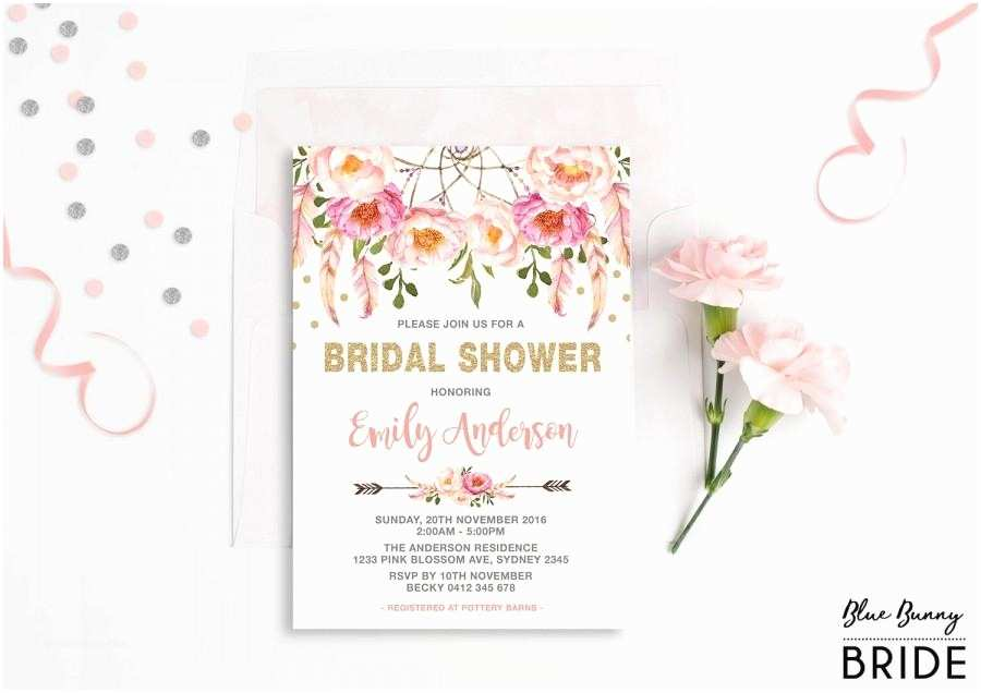 Pink and Gold Bridal Shower Invitations Pink and Gold Floral Bridal Shower Invitation Bohemian