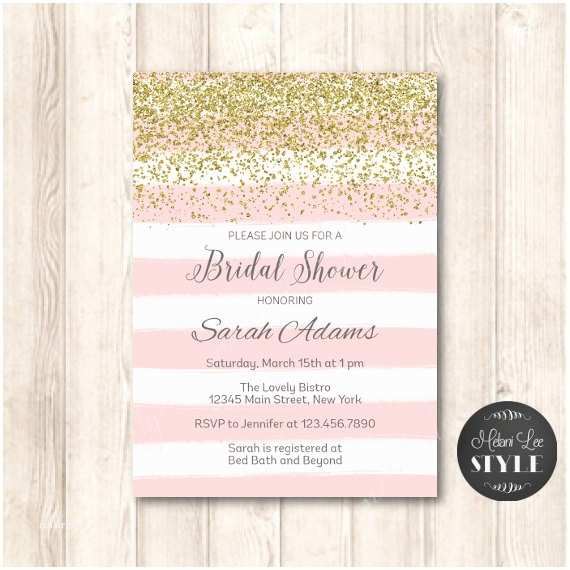 Pink and Gold Bridal Shower Invitations Pink and Gold Glitter Bridal Shower Invitation Modern