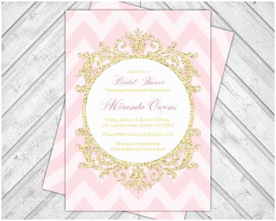 Pink and Gold Bridal Shower Invitations Pink and Gold Invitations