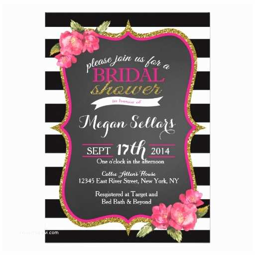 Pink and Gold Bridal Shower Invitations Pink Gold Black White Bridal Shower Invitation