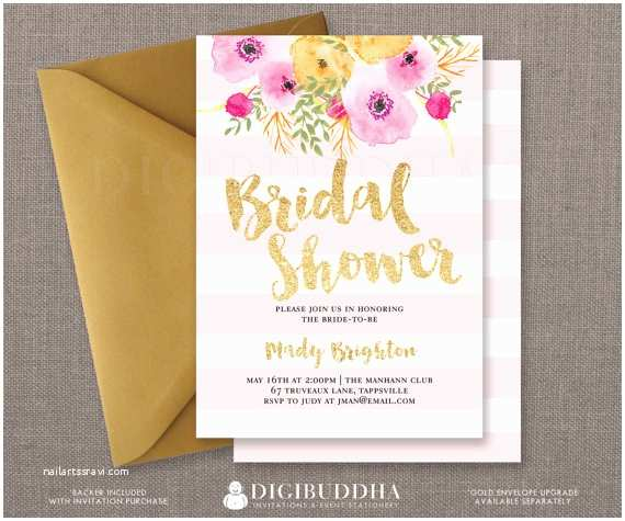 Pink and Gold Bridal Shower Invitations Pink Gold Bridal Shower Invitation Stripes Gold Glitter