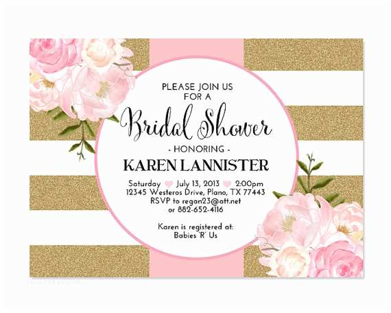 Pink and Gold Bridal Shower Invitations Pink Gold Glitter Bridal Shower Invitation Stripes Floral