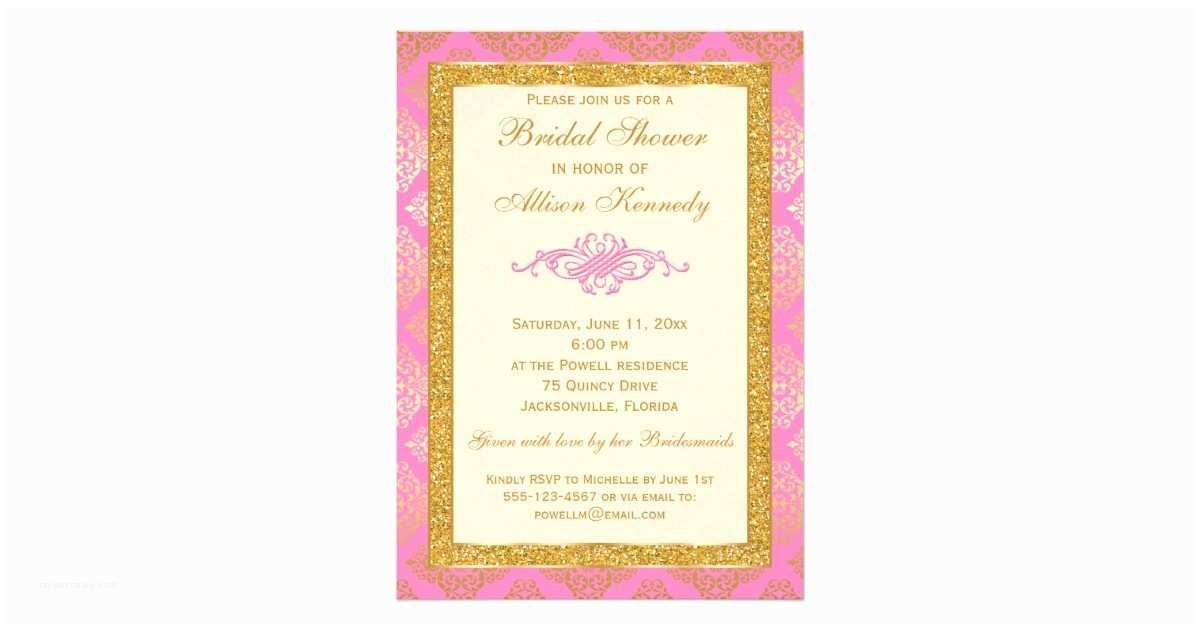 Pink and Gold Bridal Shower Invitations Pink Gold Glitter Damask Bridal Shower Invitation