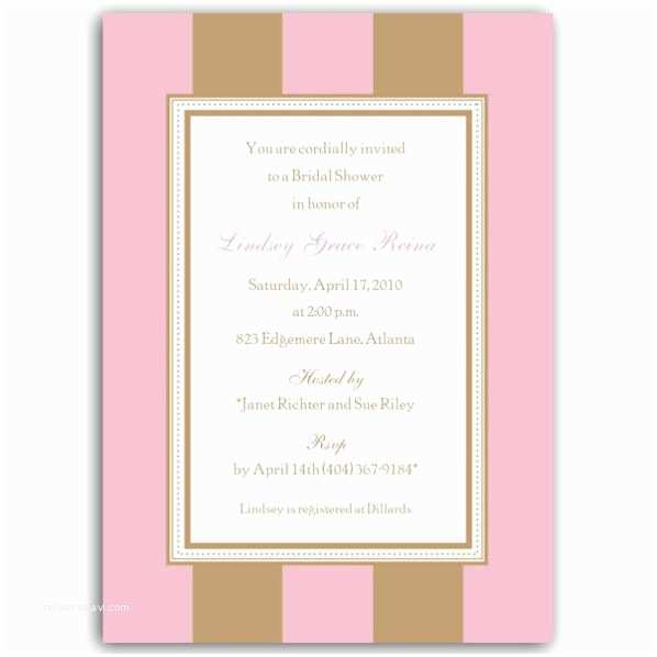 Pink and Gold Bridal Shower Invitations Stripe Pink Gold Bridal Shower Invitations