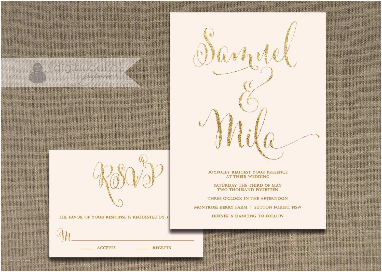 Pink and Gold Wedding Invitations Blush Pink and Gold Wedding Invitation & Rsvp 2 Piece Suite