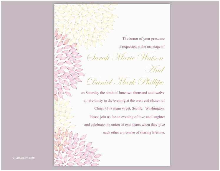 Pink and Gold Wedding Invitations Diy Wedding Invitation Template Editable Word File Instant