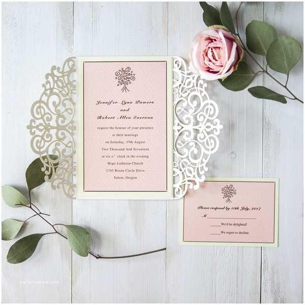 Pink and Gold Wedding Invitations Laser Cut Wedding Invitations