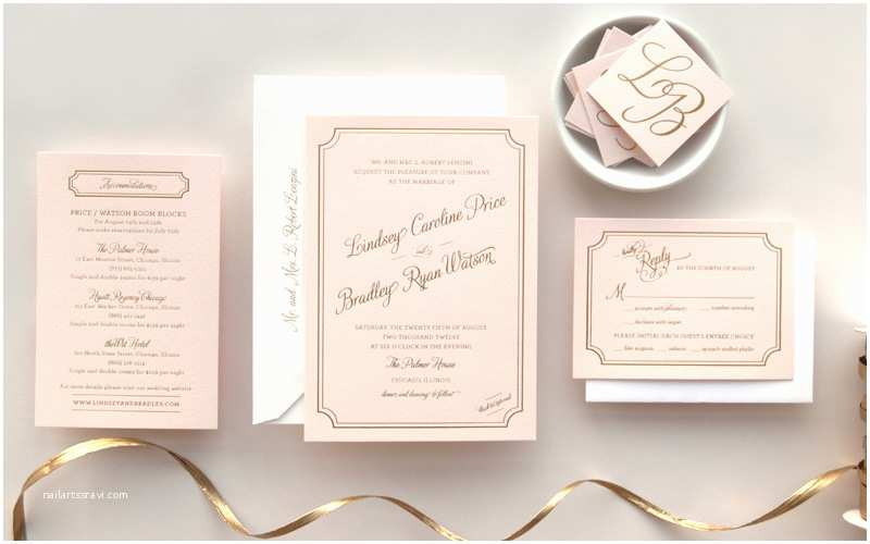 Pink and Gold Wedding Invitations Lindsey Bradley S Elegant Pink and Gold Foil Wedding