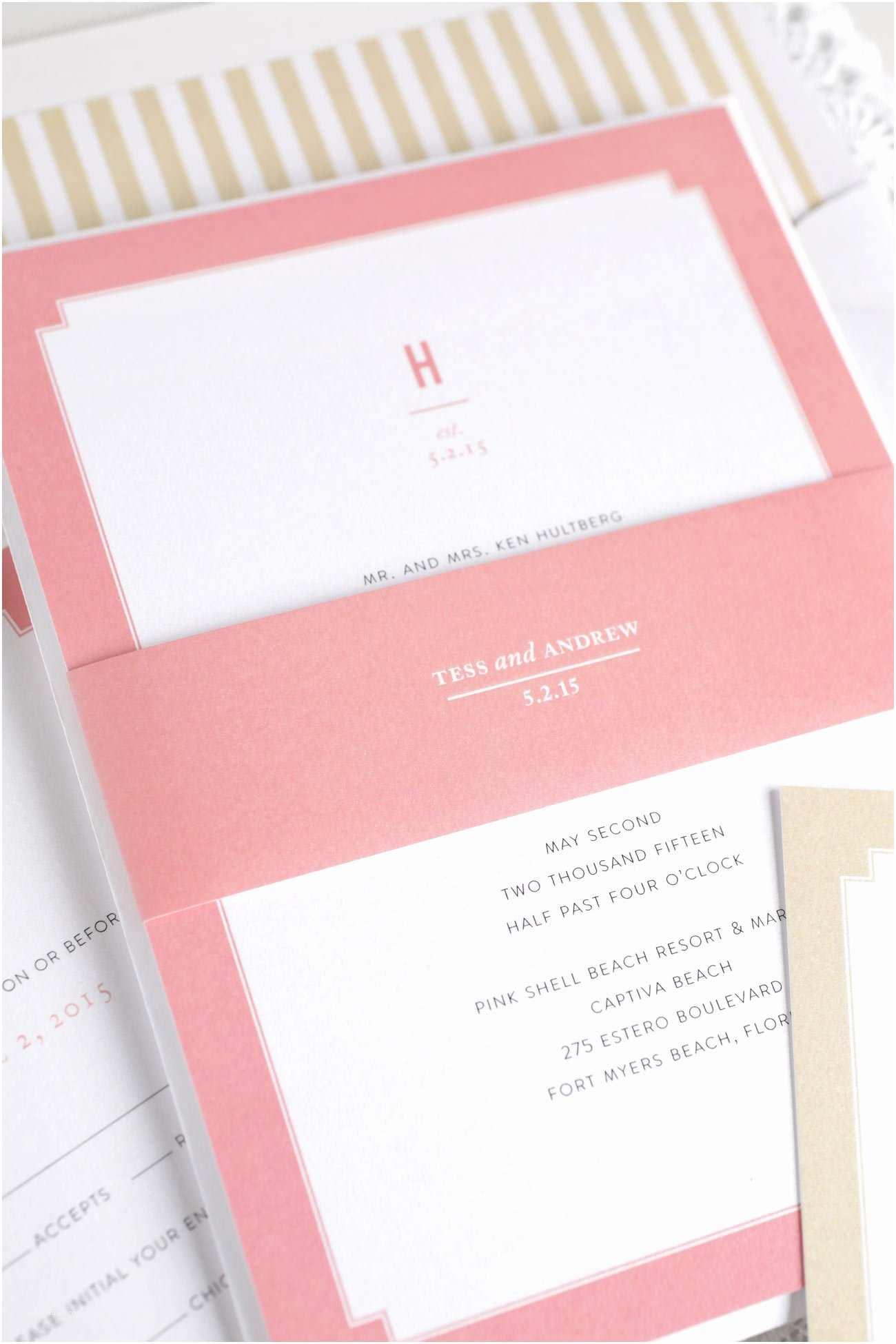 Pink and Gold Wedding Invitations Monogram Wedding Invitations In Coral and Gold – Wedding