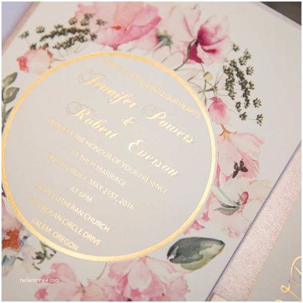 Pink and Gold Wedding Invitations Pink and Gold Glitter Pocket Wedding Invitations with