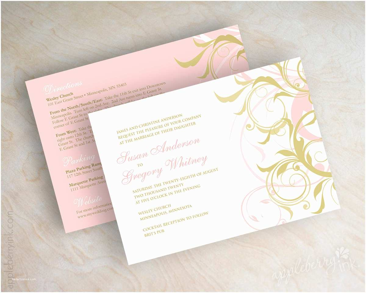 Pink and Gold Wedding Invitations Pink and Gold Wedding Invitations Gold and Pink Wedding
