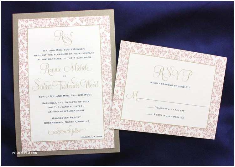 Pink and Gold Wedding Invitations Pink Gold & Navy Damask Border and Monogram Wedding