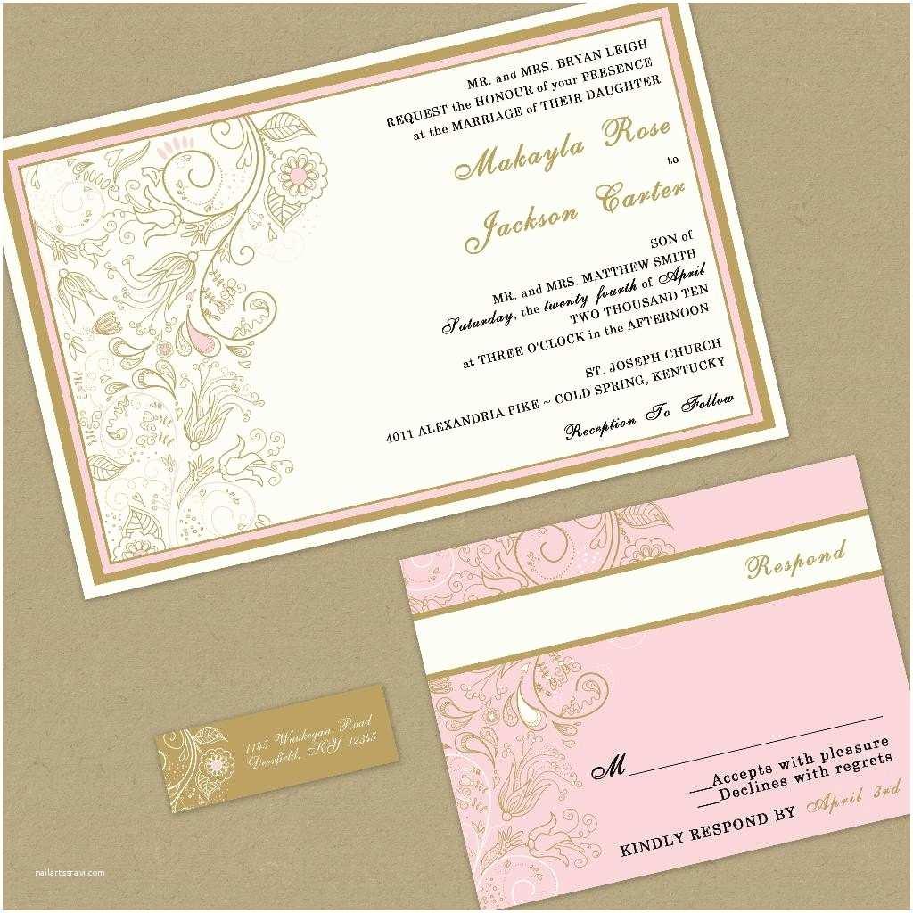 wedding invitation romantic pink and