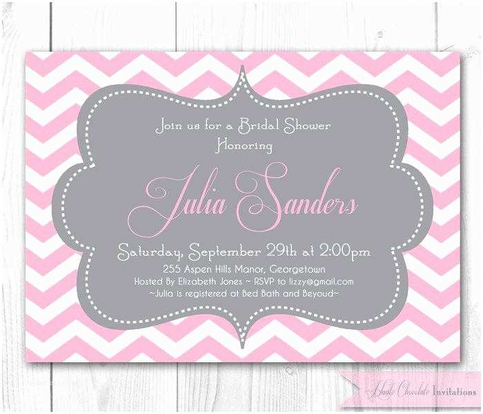 Pink and Gray Baby Shower Invitations Chevron Bridal Shower Invitation Pink & Gray Chevron