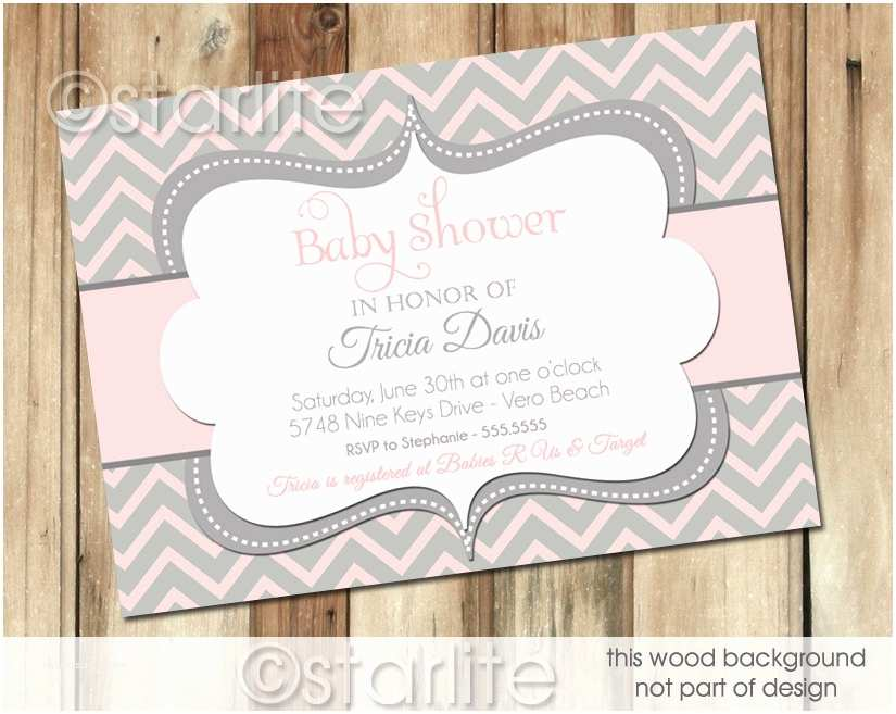 Pink and Gray Baby Shower Invitations Chevron Pink and Gray Grey Baby Shower Invitation by Starwedd