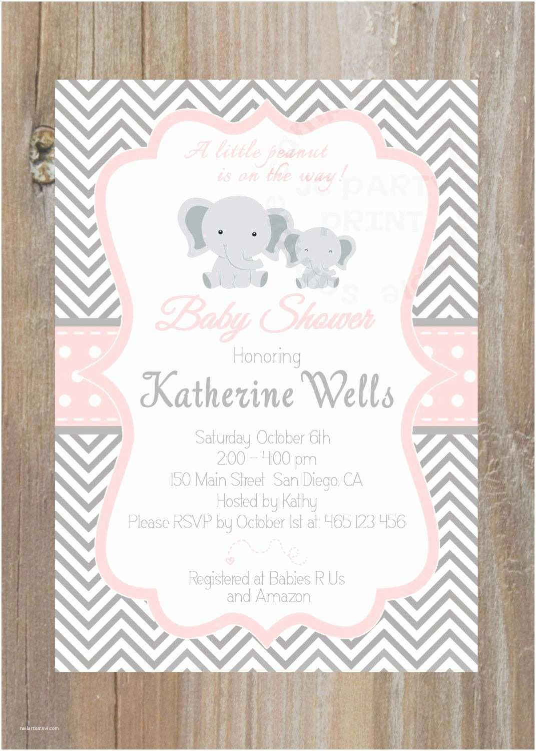 Pink and Gray Baby Shower Invitations Grey and Pink Chevron Baby Shower Invitation by