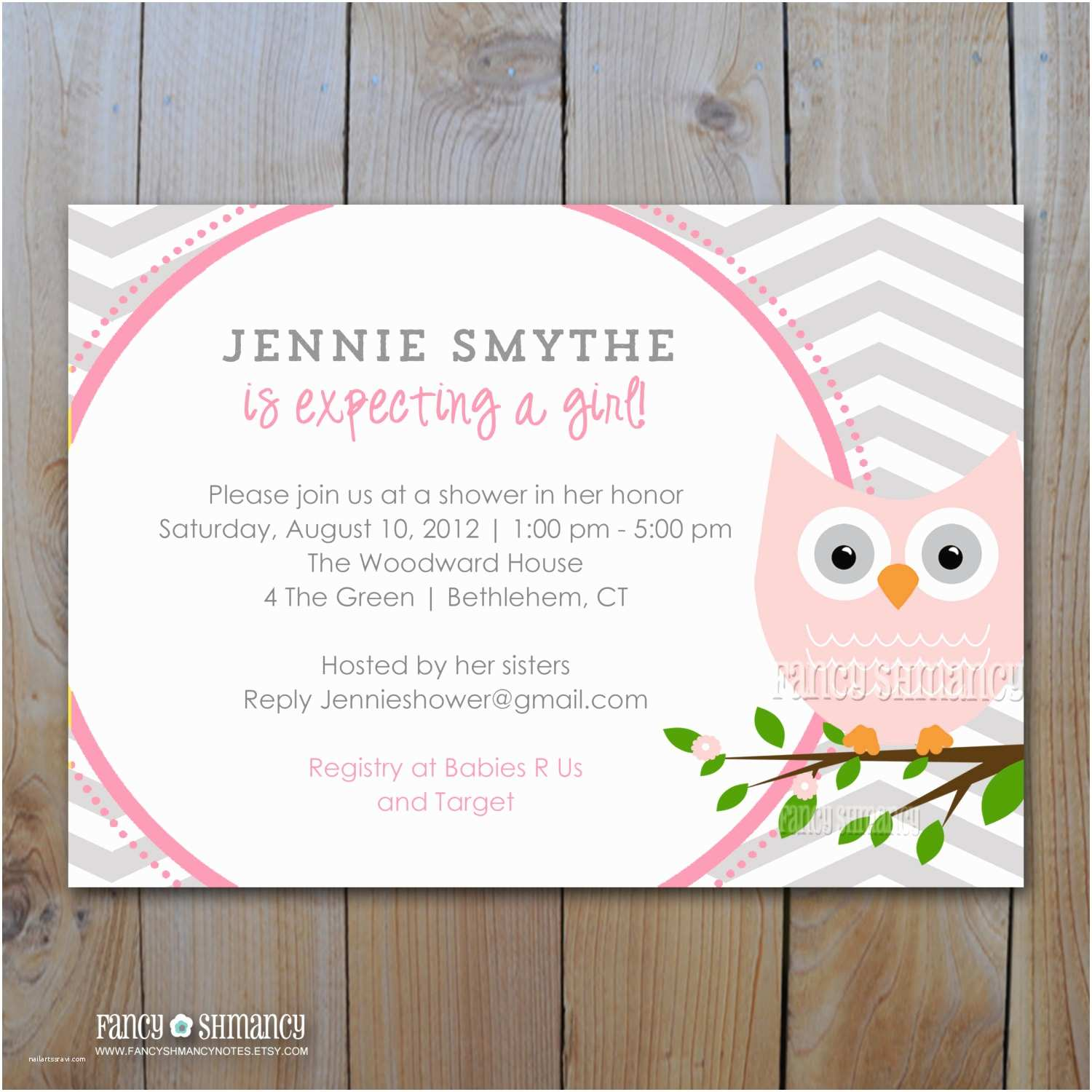 Pink and Gray Baby Shower Invitations Owl Baby Shower Invitation Grey and Pink Owl with Grey