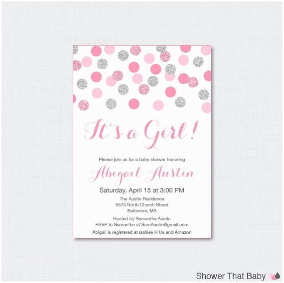 Pink and Gray Baby Shower Invitations Pink and Gray Baby Shower Invitation Printable or Printed