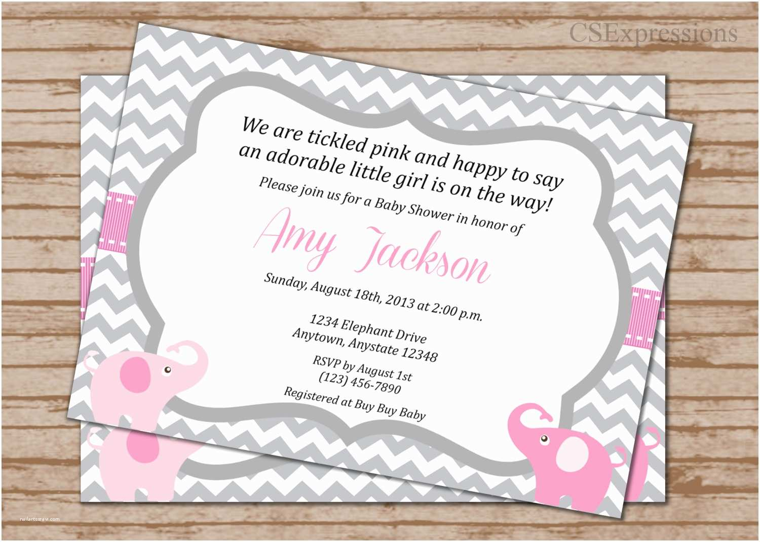Pink and Gray Baby Shower Invitations Pink and Gray Elephant Baby Shower Invitation