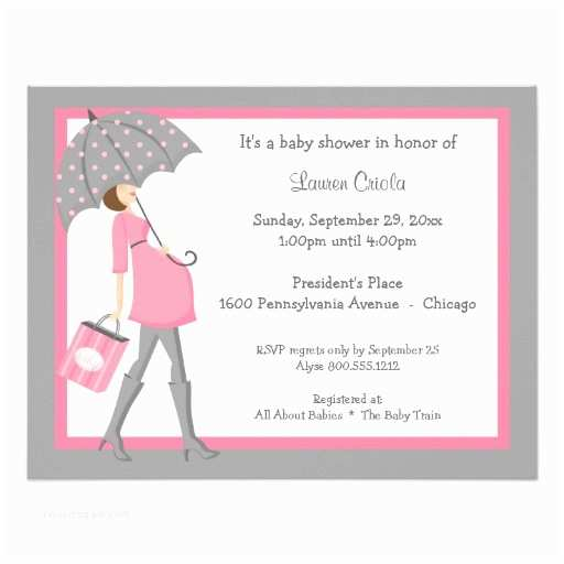 Pink and Gray Baby Shower Invitations Pink and Gray Shopper Baby Shower Invitation