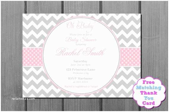 Pink and Gray Baby Shower Invitations Pink and Grey Chevron Baby Shower Invitation Pink Baby