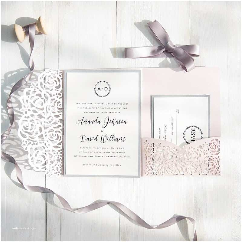 Pink and Gray Wedding Invitations Blush Pink and Gray Laser Cut Pocket Wedding Invitations
