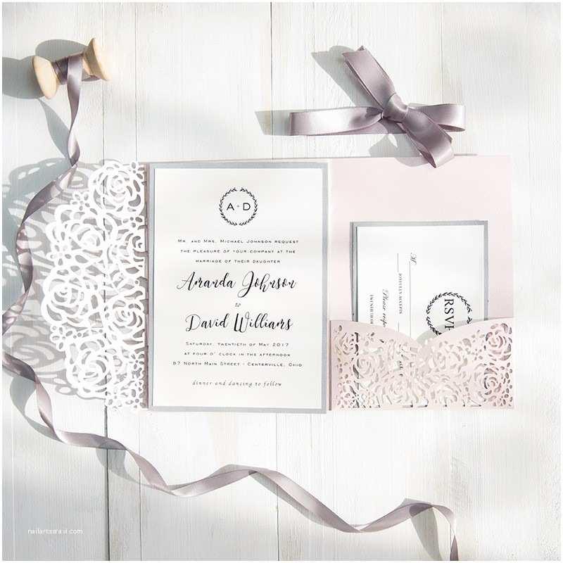 Pink and Gray Wedding Invitations Blush Pink and Gray Laser Cut Pocket Wedding Invitations