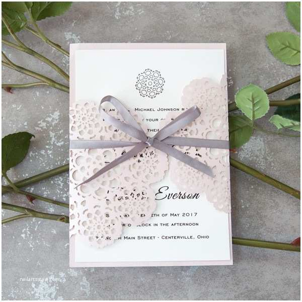 Pink and Gray Wedding Invitations Blush Pink Floral Laser Cut Wedding Invites with Grey