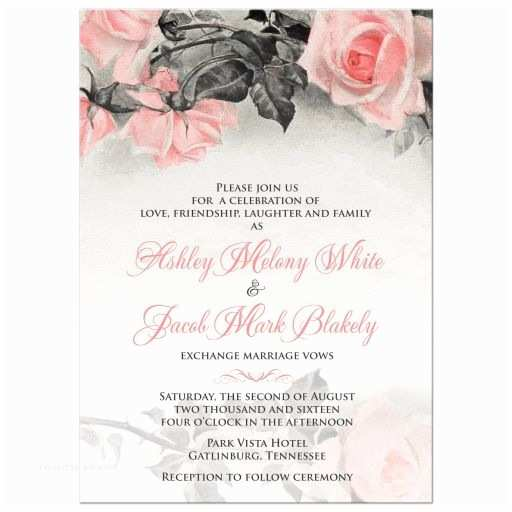 Pink and Gray Wedding Invitations Blush Pink Gray Rose Wedding Invitation