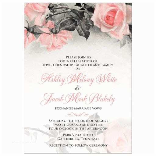 Pink and Gray Wedding Invitations Blush Pink Gray Rose Wedding Invitation