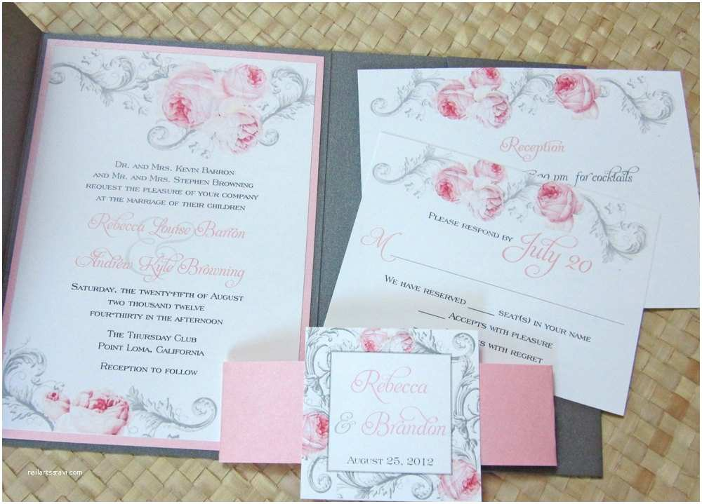 Pink and Gray Wedding Invitations Elegant Pocket Wedding Invitation Pink and Gray Wedding