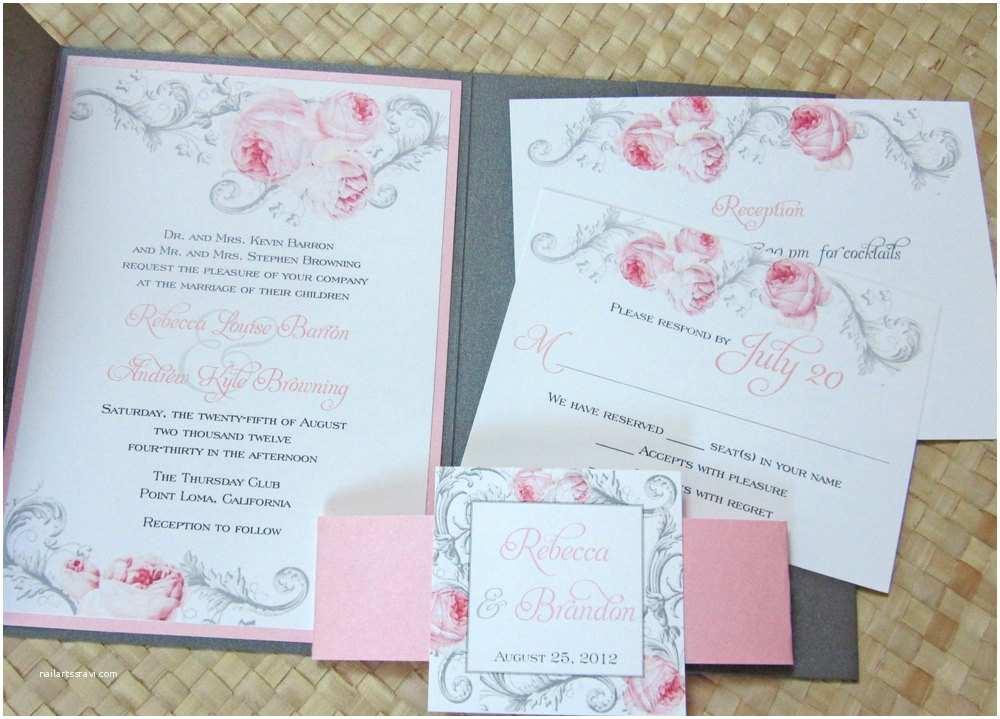 Pink and Gray Wedding Invitations Elegant Pocket Wedding Invitation Pink and Gray Wedding
